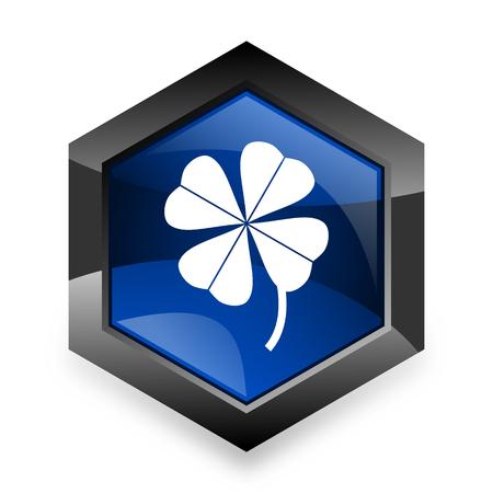 button grass: four-leaf clover blue hexagon 3d modern design icon on white background