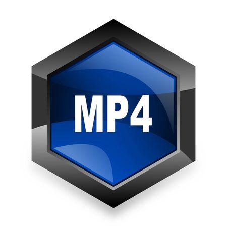 mp4: mp4 blue hexagon 3d modern design icon on white background