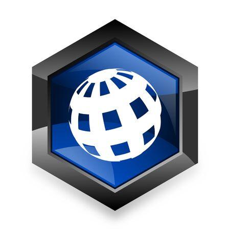 meridiano: tierra azul del hexágono 3d icono del diseño moderno en el fondo blanco