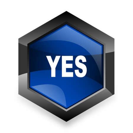 yea: yes blue hexagon 3d modern design icon on white background Stock Photo