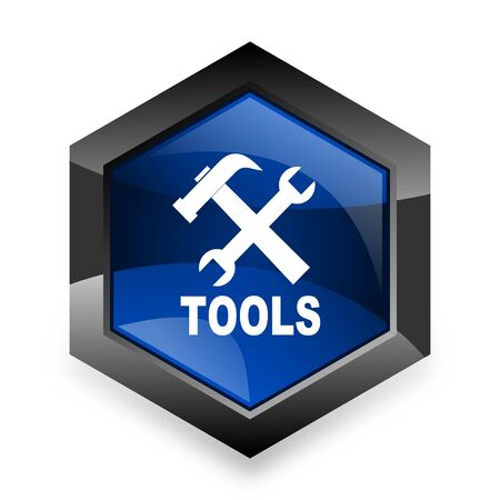 instrumentation: tools blue hexagon 3d modern design icon on white background