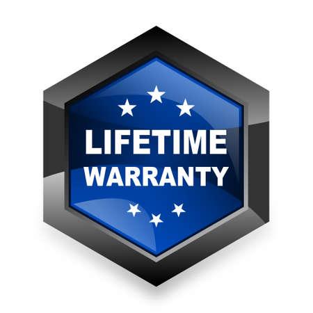 lifetime: lifetime warranty blue hexagon 3d modern design icon on white background Stock Photo