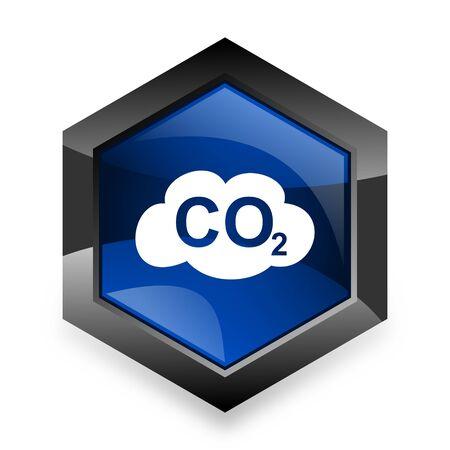 dioxido de carbono: el dióxido de carbono azul del hexágono 3d icono del diseño moderno en el fondo blanco