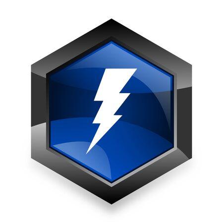 amperage: bolt blue hexagon 3d modern design icon on white background