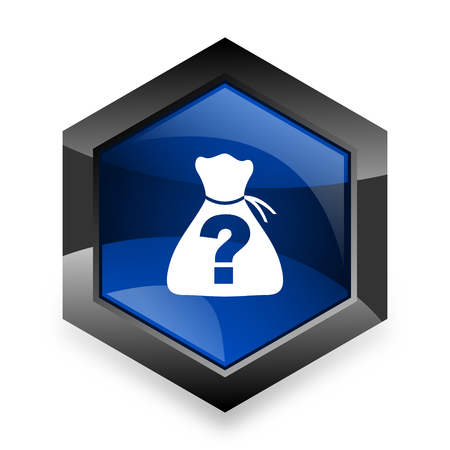 riddle: riddle blue hexagon 3d modern design icon on white background