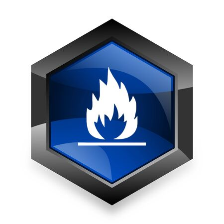 blue flame: flame blue hexagon 3d modern design icon on white background