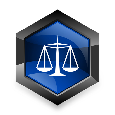 judiciary: justice blue hexagon 3d modern design icon on white background Stock Photo