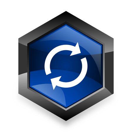 refrescar: recargar azul del hexágono 3d icono del diseño moderno en el fondo blanco
