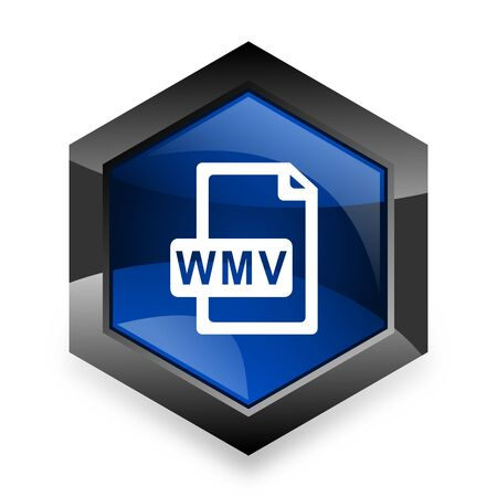 wmv: wmv file blue hexagon 3d modern design icon on white background Stock Photo