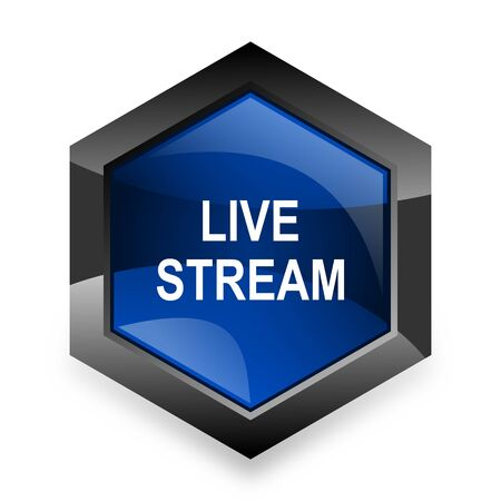 live stream: live stream blue hexagon 3d modern design icon on white background