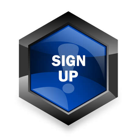 subscribing: sign up blue hexagon 3d modern design icon on white background