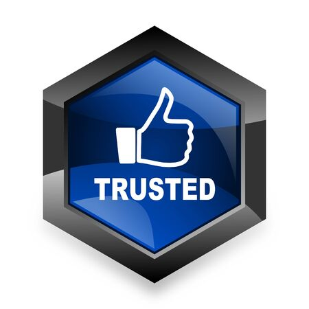 trust: trusted blue hexagon 3d modern design icon on white background Stock Photo