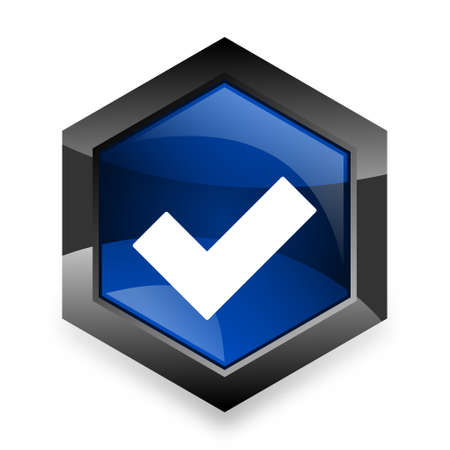 to accept: accept blue hexagon 3d modern design icon on white background