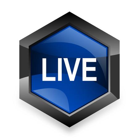 news cast: live blue hexagon 3d modern design icon on white background
