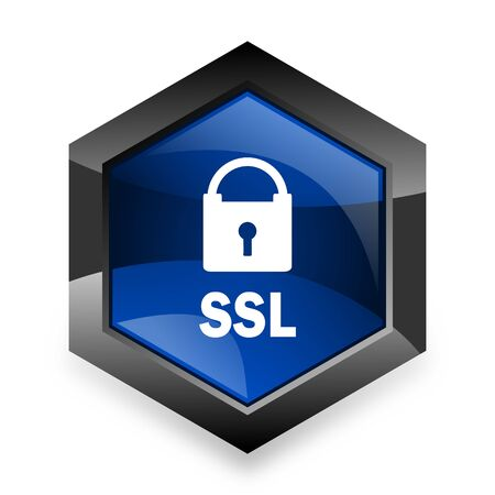 ssl: ssl blue hexagon 3d modern design icon on white background