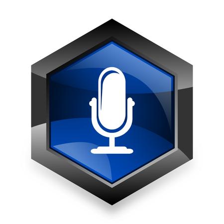 microphone blue hexagon 3d modern design icon on white background
