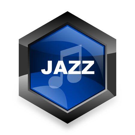 listen live stream: jazz music blue hexagon 3d modern design icon on white background