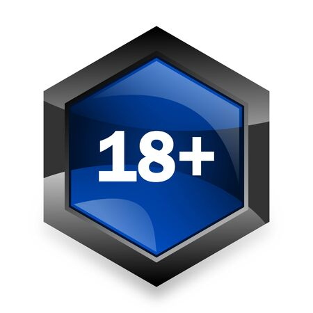 permitted: adults blue hexagon 3d modern design icon on white background