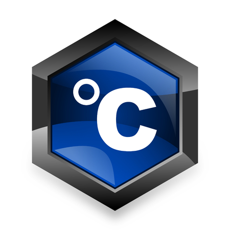 celsius: celsius blue hexagon 3d modern design icon on white background Stock Photo