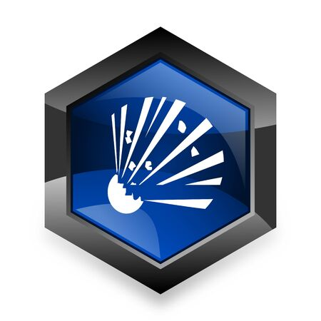 bomber: bomb blue hexagon 3d modern design icon on white background