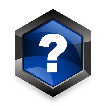 questioning: question mark blue hexagon 3d modern design icon on white background