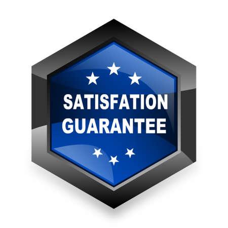 satisfaction guarantee: satisfaction guarantee blue hexagon 3d modern design icon on white background Stock Photo