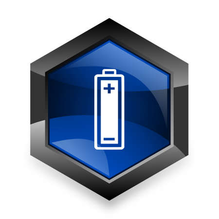 accuse: battery blue hexagon 3d modern design icon on white background