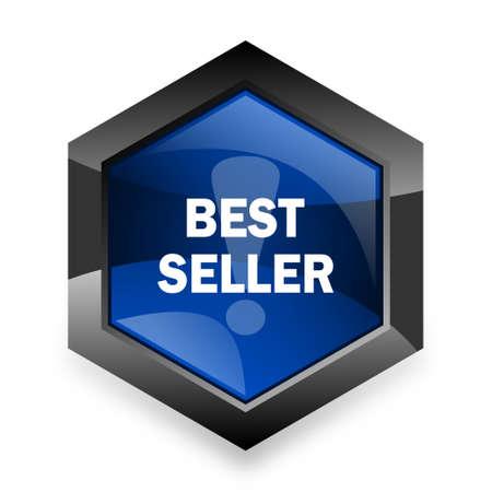 best seller: best seller blue hexagon 3d modern design icon on white background