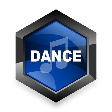 3d dance: dance music blue hexagon 3d modern design icon on white background Stock Photo