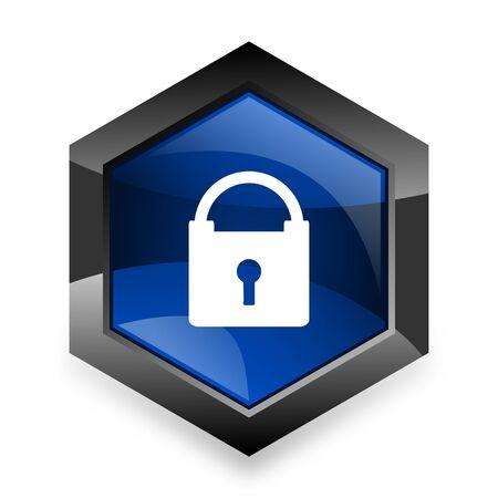 trusty: padlock blue hexagon 3d modern design icon on white background Stock Photo