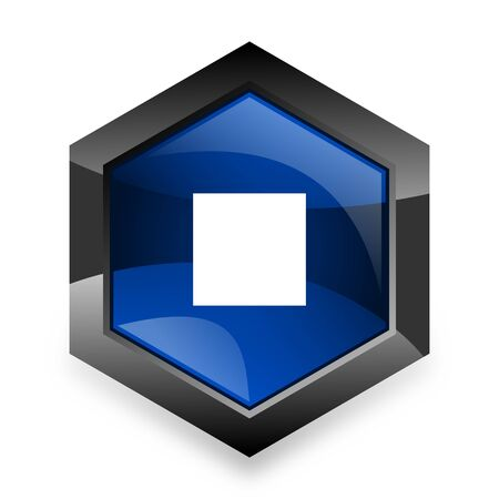 eject: stop blue hexagon 3d modern design icon on white background Stock Photo