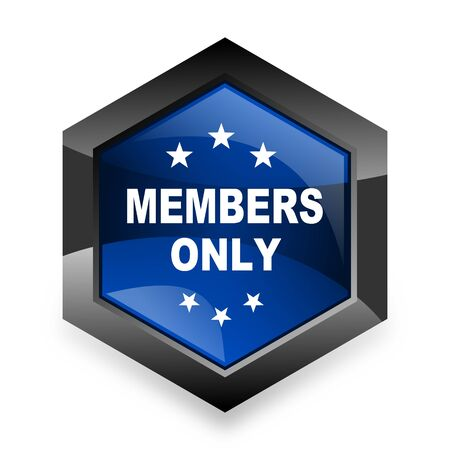 members only: members only blue hexagon 3d modern design icon on white background Stock Photo