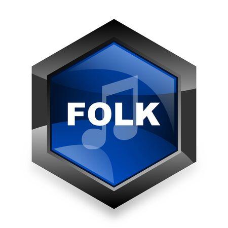 folk music: folk music blue hexagon 3d modern design icon on white background