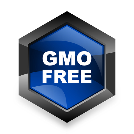 genetically: gmo free blue hexagon 3d modern design icon on white background