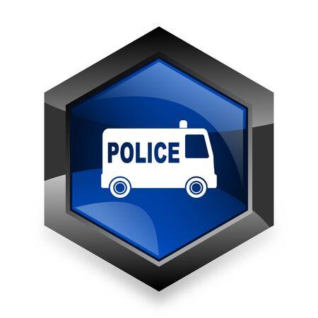 警察青白地の六角形 3d モダンなデザイン アイコン