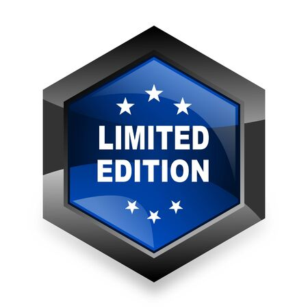 limited edition: limited edition blue hexagon 3d modern design icon on white background Stock Photo