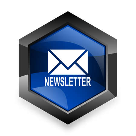 newsletter blue hexagon 3d modern design icon on white background
