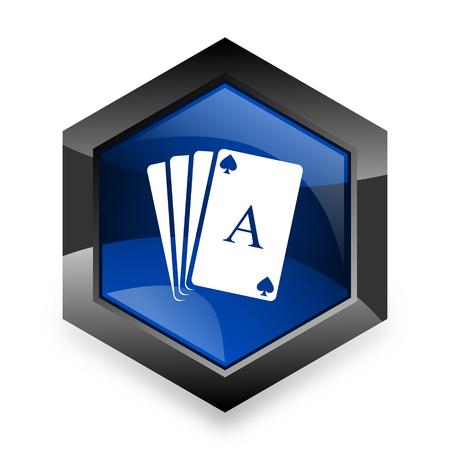 picto: card blue hexagon 3d modern design icon on white background