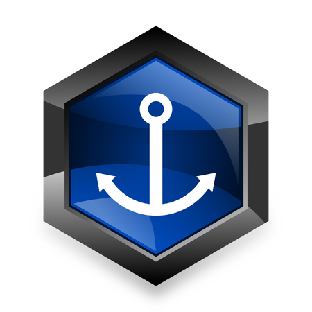 quay: anchor blue hexagon 3d modern design icon on white background