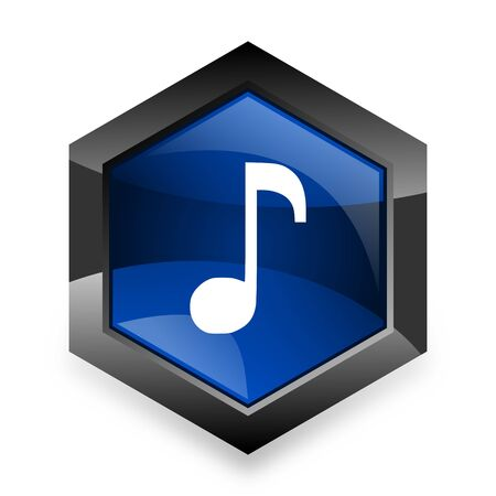 melodic: music blue hexagon 3d modern design icon on white background