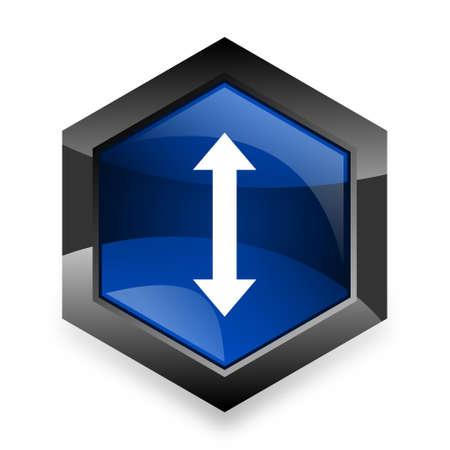 sterring: arrow blue hexagon 3d modern design icon on white background Stock Photo