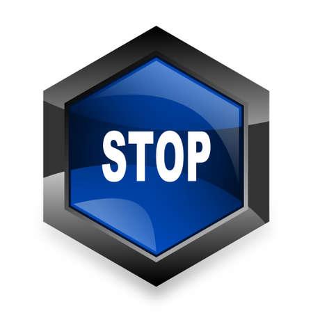 proscribed: stop blue hexagon 3d modern design icon on white background Stock Photo
