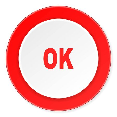 yea: ok red circle 3d modern design flat icon on white background