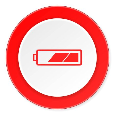 accuse: battery red circle 3d modern design flat icon on white background Stock Photo