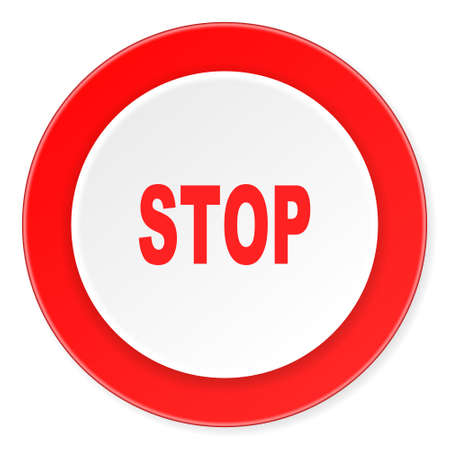 proscribed: stop red circle 3d modern design flat icon on white background