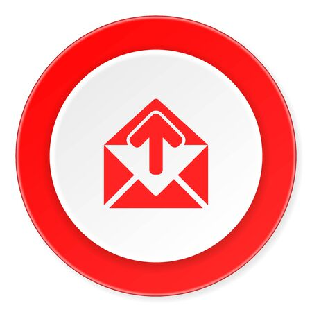 red telephone box: email red circle 3d modern design flat icon on white background