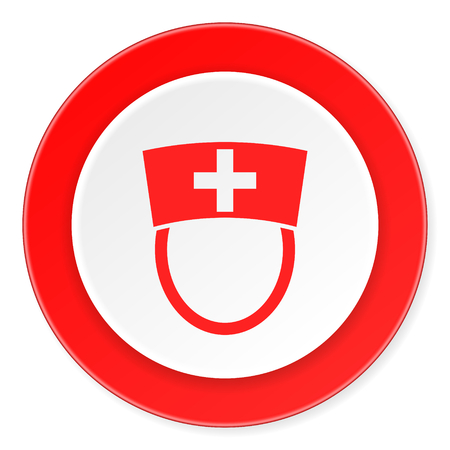 3d nurse: nurse red circle 3d modern design flat icon on white background