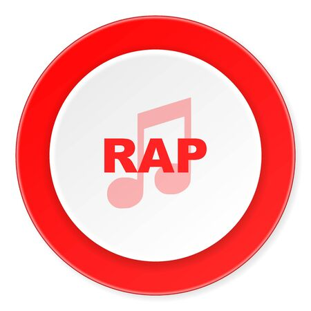 rap: rap music red circle 3d modern design flat icon on white background