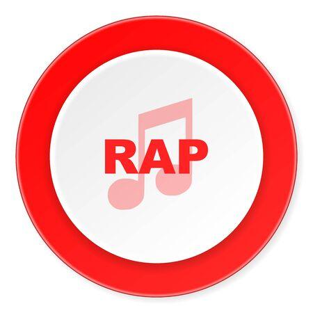 black rapper: rap music red circle 3d modern design flat icon on white background