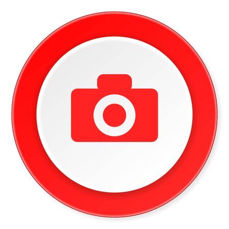 picto: camera red circle 3d modern design flat icon on white background